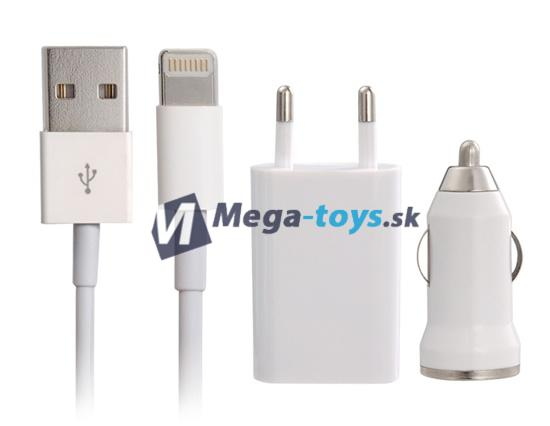 Nabíjačka na Apple iPhone 5 / 5S / 5C / 6 / 6plus sada 3v1